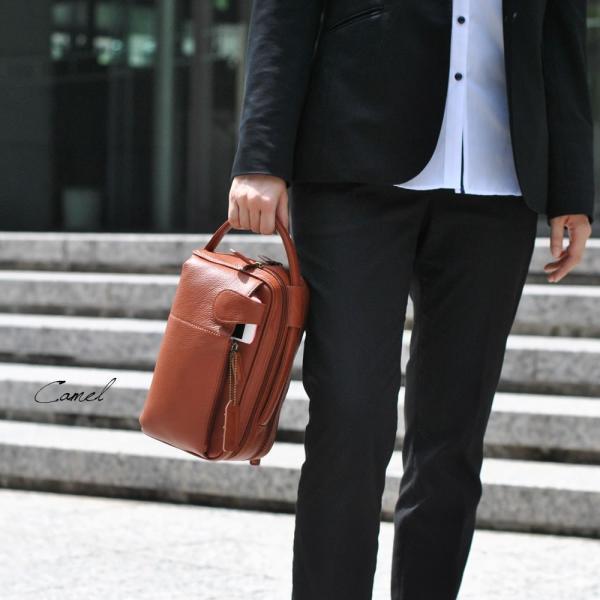 牛革セカンドバッグ メンズ Men's 本革レザー 2WAY クラッチバッグ ハンドバッグ ビジネス カジュアル 縦横 スライドハンドル|carron|02