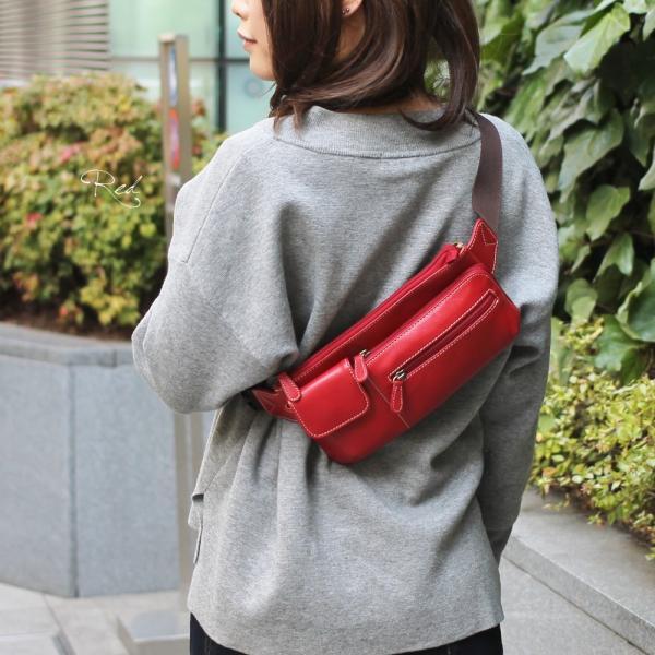 ウエストポーチ レディース レディス おしゃれ 軽量 本革 シンプル ヒップバッグ メンズ Men's ボディーバッグ bag|carron|04