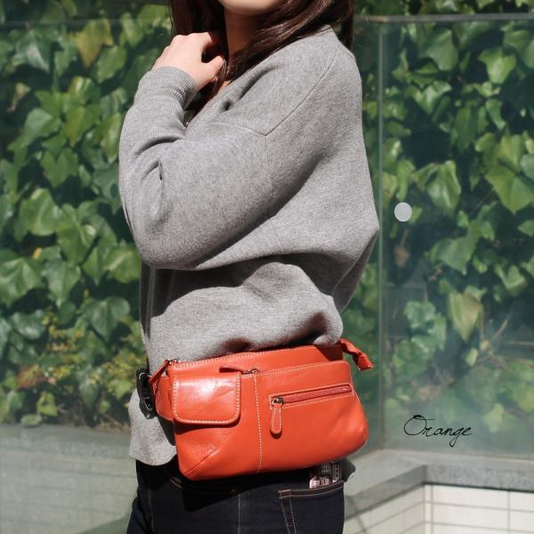 ウエストポーチ レディース レディス おしゃれ 軽量 本革 シンプル ヒップバッグ メンズ Men's ボディーバッグ bag|carron|05