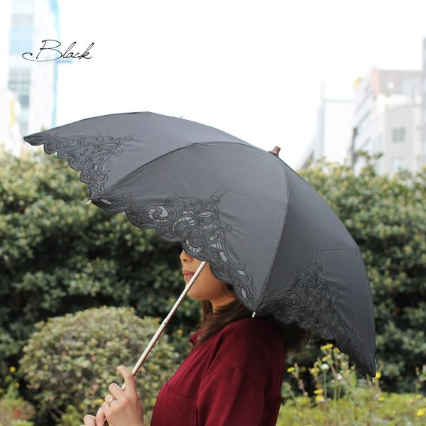 日傘 折りたたみ傘 晴雨兼用 レディース レディス UV 50cm 8本骨 レース エンブロイダリー|carron|04
