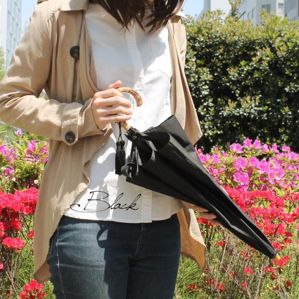 晴雨兼用折りたたみ傘 8本骨 丈夫 日傘 レディース レディス 軽量 日本製 おしゃれ 雨傘 UV コットンピケ スライドショート バンブーハンドル タッセル|carron|03