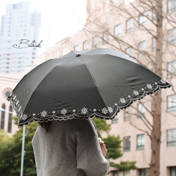 折りたたみ日傘 晴雨兼用 軽量 200g レディース レディス 99% 遮光 遮熱 UV 50cm フラワー リトルブーケ エンブロイダリー|carron|02