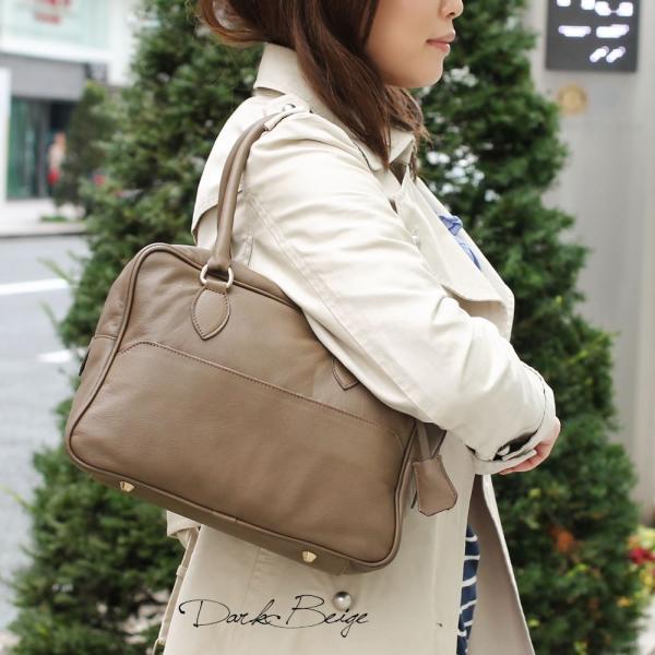 ボストンバッグ レディース 通勤 ショルダーバッグ 2WAY ソフトレザー 本革 イタリアブランド brand POPCORN エメリーヌ レディス bag|carron|02