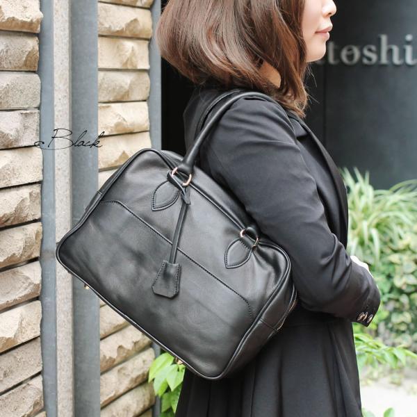 ボストンバッグ レディース 通勤 ショルダーバッグ 2WAY ソフトレザー 本革 イタリアブランド brand POPCORN エメリーヌ レディス bag|carron|04