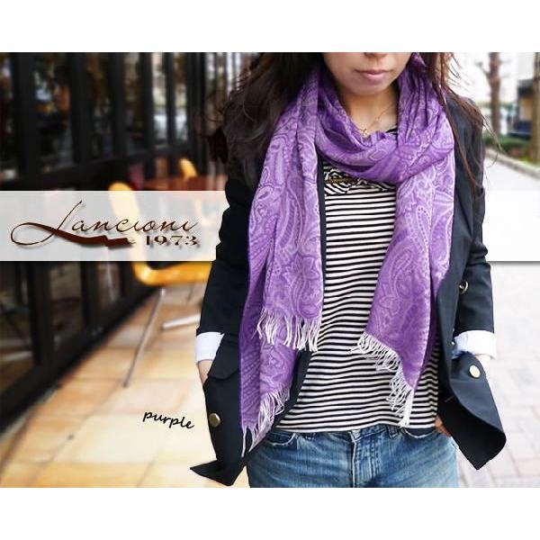 フリンジストール レディース レディス クリームイエロー ペイズリー織り模様 ビスコース イタリアブランド LANCIONI brand|carron|05