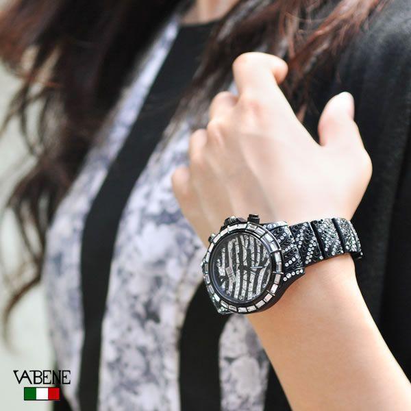 ヴァベーネ 腕時計 VABENE ゼブラフェイス スワロフスキー クロノグラフ おしゃれ ファッションウォッチ メンズ Men's レディース レディス carron 02