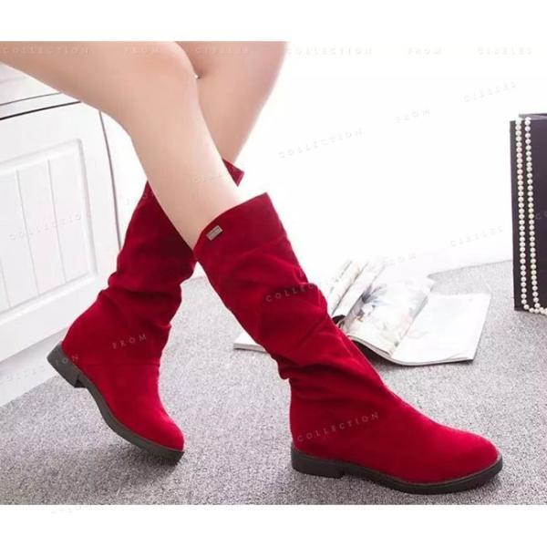 ロングブーツ レディース ロング丈 フラットシューズ スエード 美脚ブーツ 歩きやすい 疲れない 秋冬 シンプル 大人っぽい