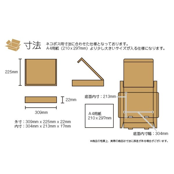 ネコポス対応 段ボール ダンボール A4 20枚セット 梱包用ダンボール 箱 ホワイト 送料無料 外寸309x225x22mm 厚さ2mm 日本製 001-005|carton-box|03