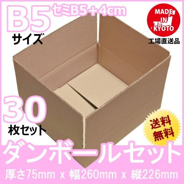 段ボール ダンボール セミB5(一般的な大学ノート)対応 30枚セット 梱包用ダンボール 茶色 送料無料 外寸260x226x75mm 厚さ3mm 日本製 003-001|carton-box