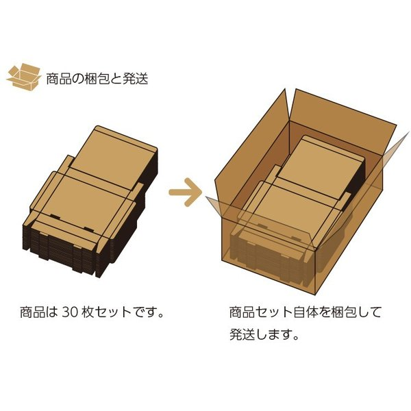 段ボール ダンボール 60サイズ フリーサイズ 30枚セット 梱包用ダンボール 組み立て式 茶色 送料無料 内寸266x238x50mm 厚さ3mm 日本製 004-065|carton-box|04