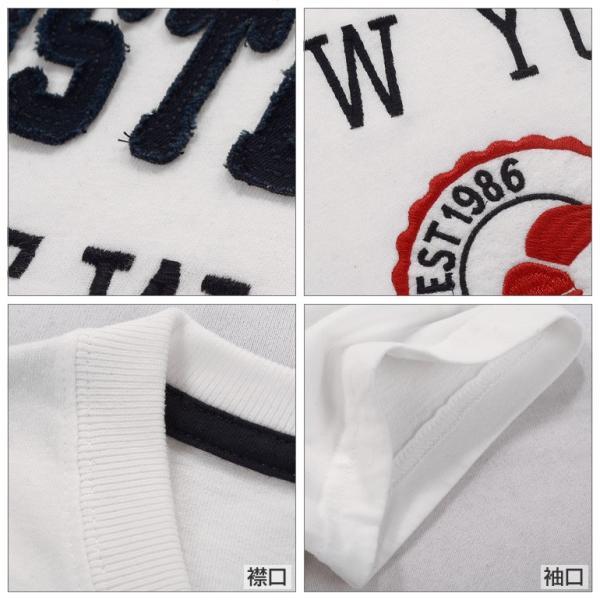 Tシャツ メンズ 半袖 アメカジ ロゴ ワッペン  ホワイト|carvus|03