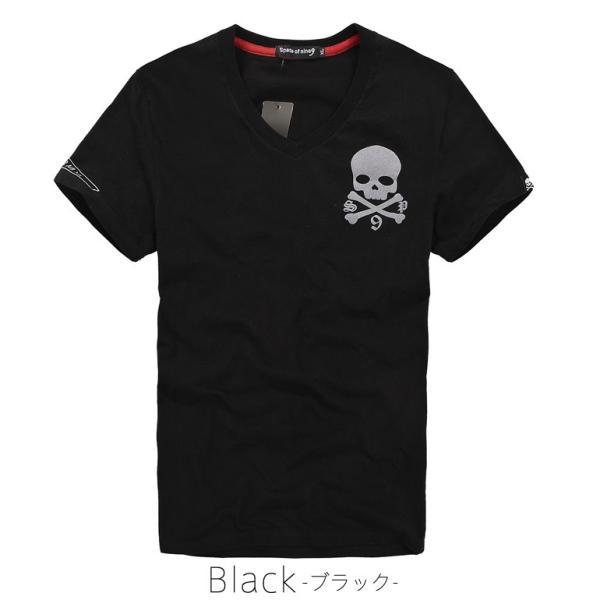 Tシャツ メンズ 半袖 スカル ドクロ フロッキースカルBIG パックプリントあり Vネック  carvus 03