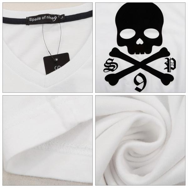 Tシャツ メンズ 半袖 スカル ドクロ フロッキースカルBIG パックプリントあり Vネック  carvus 05