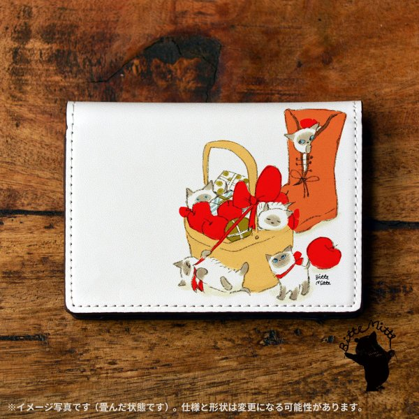 名刺入れ レディース おしゃれ 革 レザー 二つ折り 猫 ねこ 名刺ケース c612|casegarden