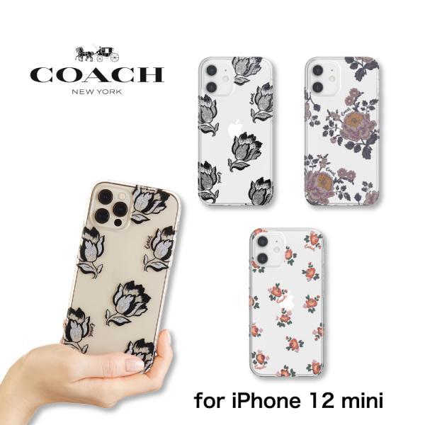 iphone12mini ケース iPhone12ミニ  花柄 ブランド クリア 耐衝撃 スリム coach コーチ おしゃれ アイフォン 12 ミニ ケース スマホケース カバー