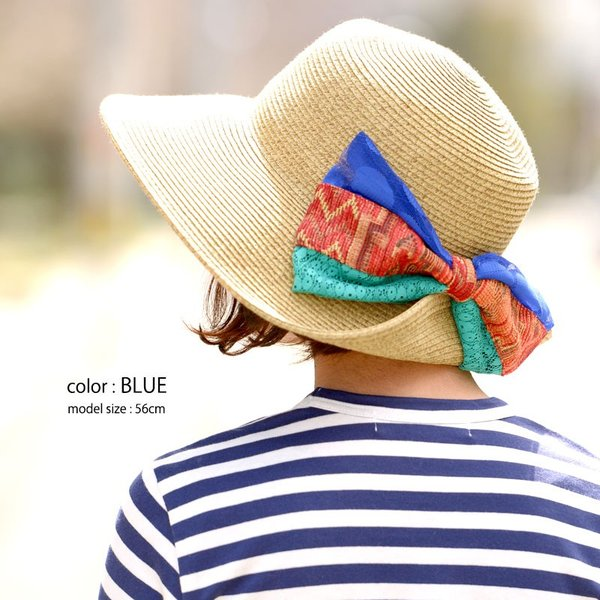 【全品送料無料!24日〜26日限定】BIG Ribbon ナチュラル ハット   レディース コットン 帽子 つば付き UV 小顔 スポーツ リボン casualbox 05