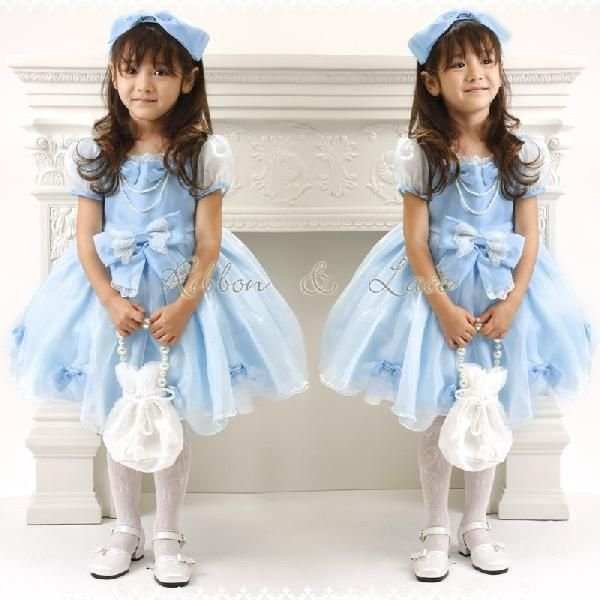 子供ドレス 発表会 結婚式 女の子 レースリボンのスクエア襟プリンセスドレス フォーマル 100-130cm|catherine|02