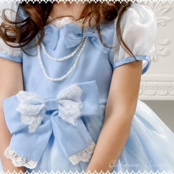 子供ドレス 発表会 結婚式 女の子 レースリボンのスクエア襟プリンセスドレス フォーマル 100-130cm|catherine|03