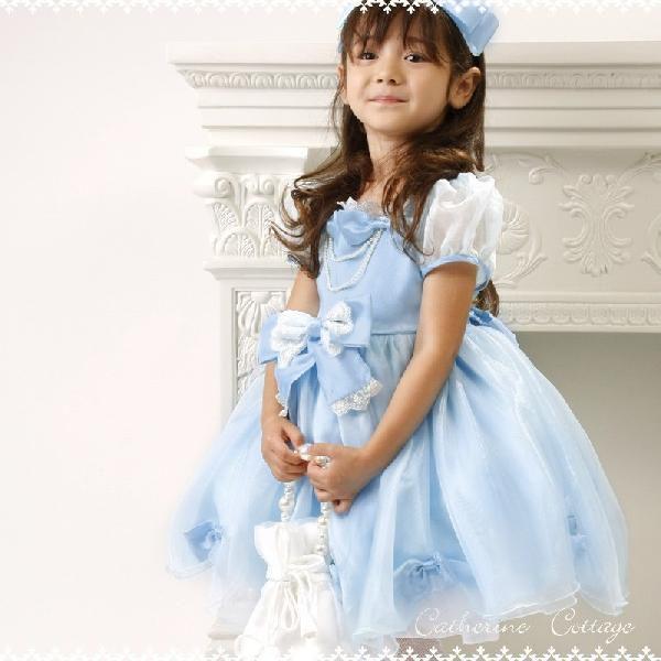 子供ドレス 発表会 結婚式 女の子 レースリボンのスクエア襟プリンセスドレス フォーマル 100-130cm|catherine|04