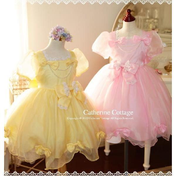 子供ドレス 発表会 結婚式 女の子 レースリボンのスクエア襟プリンセスドレス フォーマル 100-130cm|catherine|05