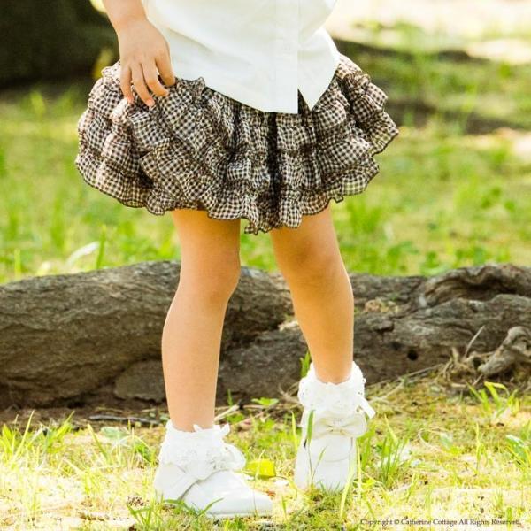 子供スカート キュートなチェック柄シフォンフリルスカート インナーパニエ|catherine