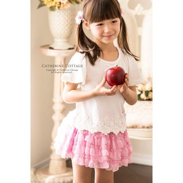 子供スカート キュートなチェック柄シフォンフリルスカート インナーパニエ|catherine|03