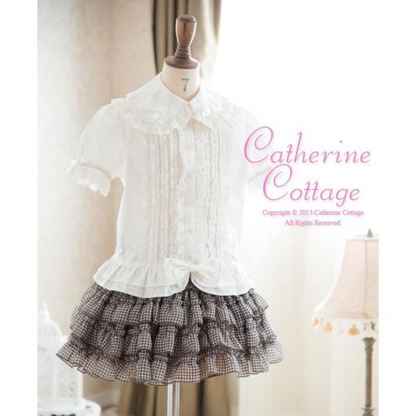 子供スカート キュートなチェック柄シフォンフリルスカート インナーパニエ|catherine|06