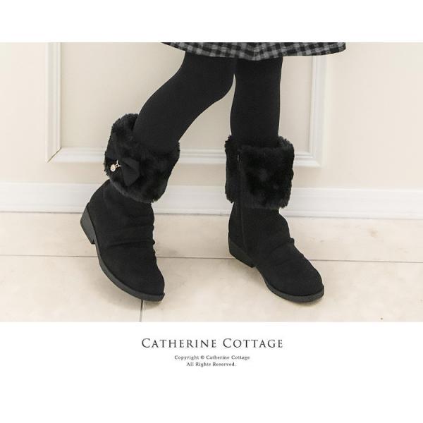 子供靴 サイドリボンショートブーツ キッズ 女の子 リボン ファー  ショート 16 17 18 19 20 21 22 23 cm  ONB SD [TS]|catherine|02