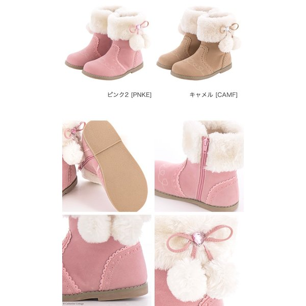 子供靴 サイドリボンショートブーツ キッズ 女の子 リボン ファー  ショート 16 17 18 19 20 21 22 23 cm  ONB SD [TS]|catherine|12