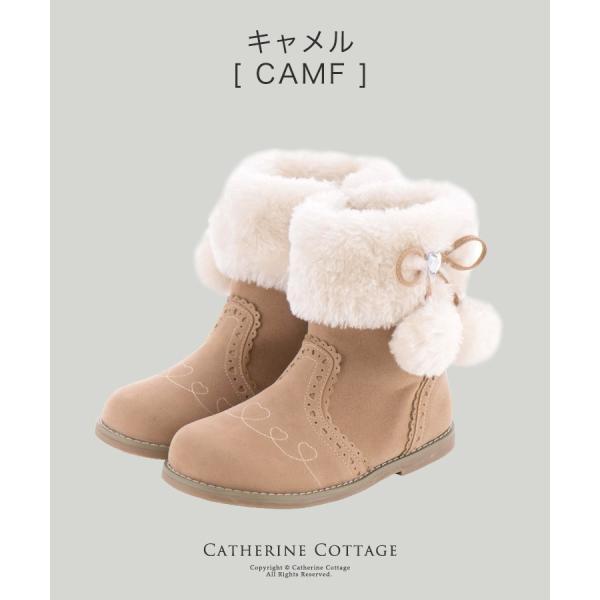 子供靴 サイドリボンショートブーツ キッズ 女の子 リボン ファー  ショート 16 17 18 19 20 21 22 23 cm  ONB SD [TS]|catherine|14