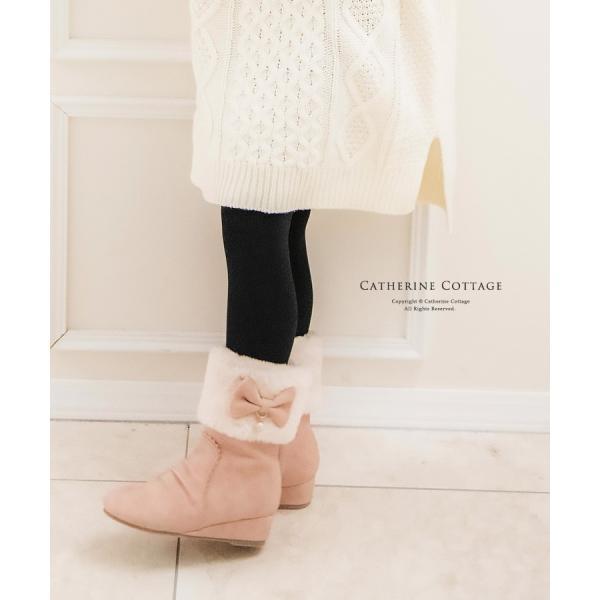 子供靴 サイドリボンショートブーツ キッズ 女の子 リボン ファー  ショート 16 17 18 19 20 21 22 23 cm  ONB SD [TS]|catherine|03