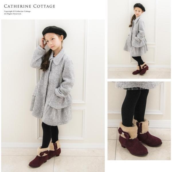 子供靴 サイドリボンショートブーツ キッズ 女の子 リボン ファー  ショート 16 17 18 19 20 21 22 23 cm  ONB SD [TS]|catherine|04