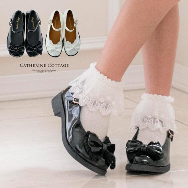 d427be4e362fb 入学式 子供 靴 子供フォーマル 女の子 ワンストラップ シューズ レース リボン エナメル 17 18 19 ...