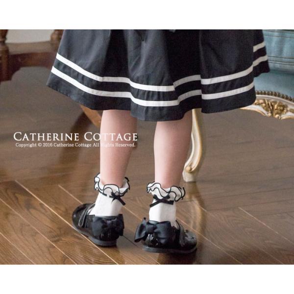 靴下 キッズ 日本製 フリル編みはしごリボン風ソックス フォーマル16-24 cm [YUP4]|catherine|05