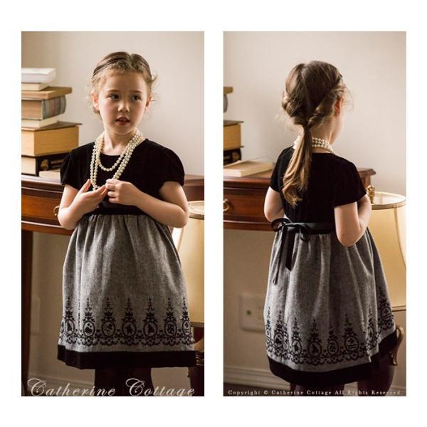 5b7ccde840a3f ... 子供ドレス 女の子 アリスフロッキープリントのベロアワンピース 子供服 フォーマル 110 120 130 140 ...
