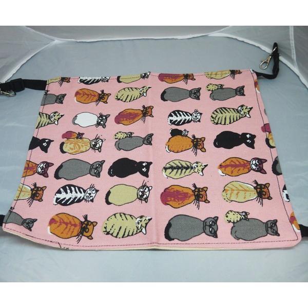 【ネコポス対応】ニャンモック 猫柄 猫用ハンモック ピンク Lサイズ ベット ケージ|cattery-branche