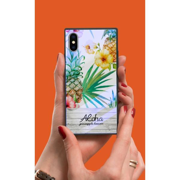 iPhoneケース iPhone XR ケース スクエア型 四角 耐衝撃 背面ガラス 強化ガラス トロピカル Hawaii ハワイアン アロハ iphoneXS Galaxy s9 パイナップル|caw|02
