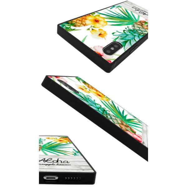 iPhoneケース iPhone XR ケース スクエア型 四角 耐衝撃 背面ガラス 強化ガラス トロピカル Hawaii ハワイアン アロハ iphoneXS Galaxy s9 パイナップル|caw|03