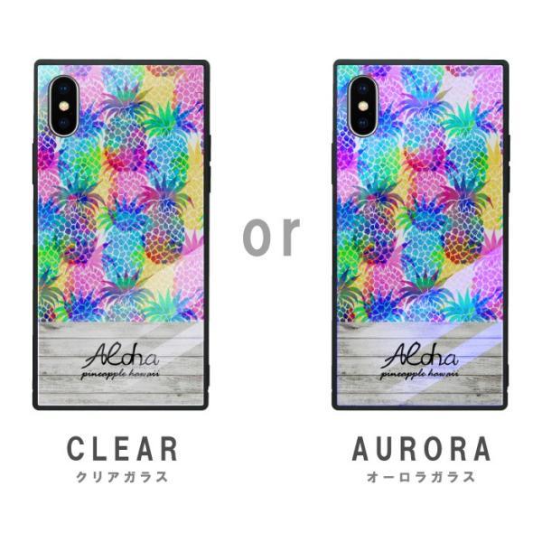 iPhoneケース iPhone XR ケース スクエア型 四角 耐衝撃 背面ガラス 強化ガラス トロピカル Hawaii ハワイアン アロハ iphoneXS Galaxy s9 パイナップル|caw|05