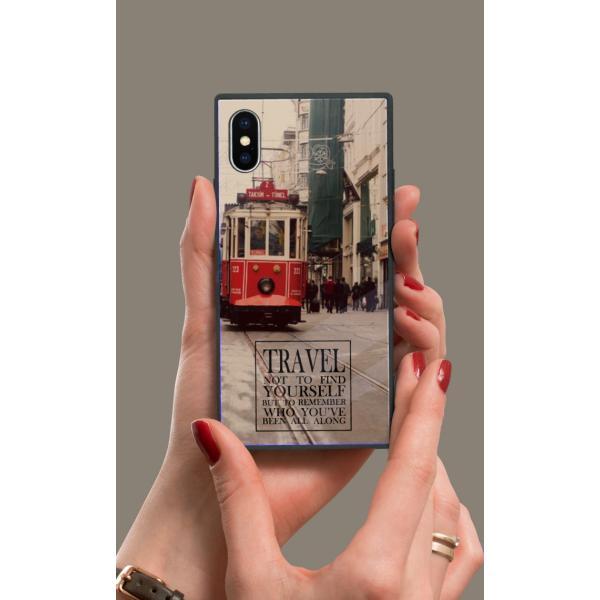 iPhoneケース iPhone XR ケース スクエア型 四角 耐衝撃 背面ガラス 強化ガラス 風景 写真 ニューヨーク ロンドン パリ 街 ヨーロッパ iphoneXS Galaxy s9|caw|02