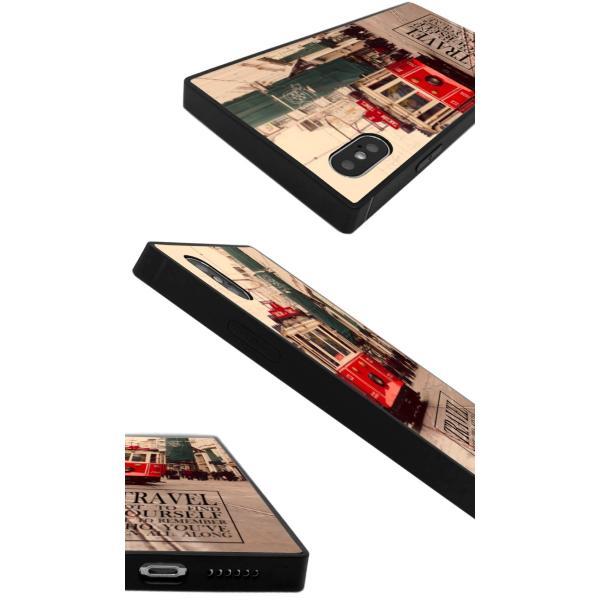 iPhoneケース iPhone XR ケース スクエア型 四角 耐衝撃 背面ガラス 強化ガラス 風景 写真 ニューヨーク ロンドン パリ 街 ヨーロッパ iphoneXS Galaxy s9|caw|03