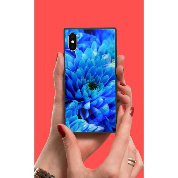 iPhoneケース iPhone XR ケース スクエア型 四角 耐衝撃 背面ガラス 強化ガラス 花柄 写真 花 カラフル かわいい 派手 豪華 上品 iPhoneXS Galaxy s9ケース 大人|caw|02