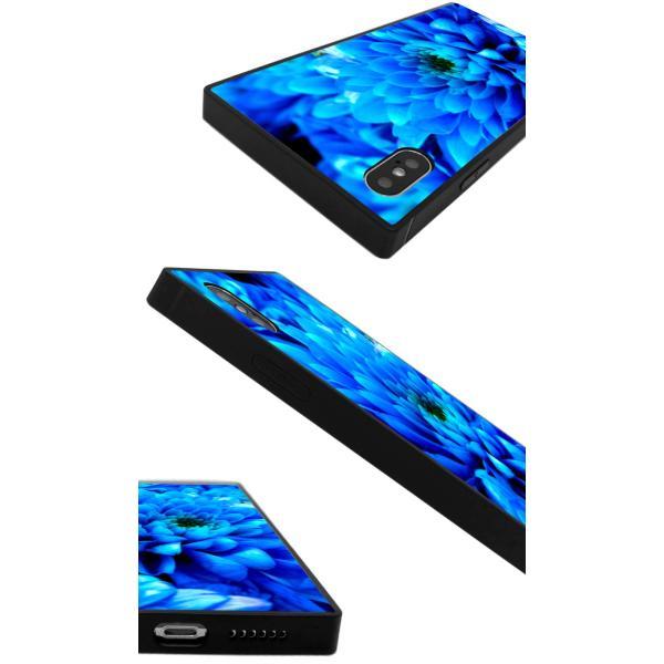 iPhoneケース iPhone XR ケース スクエア型 四角 耐衝撃 背面ガラス 強化ガラス 花柄 写真 花 カラフル かわいい 派手 豪華 上品 iPhoneXS Galaxy s9ケース 大人|caw|03