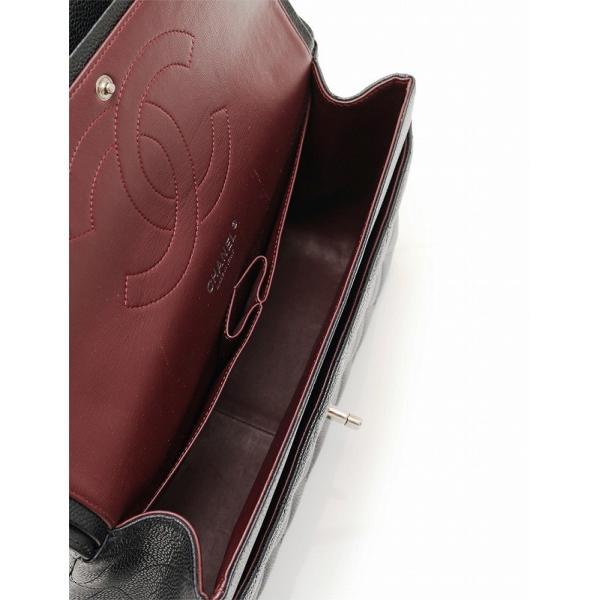 シャネル CHANEL マトラッセ30 キャビアスキン ブラック シルバー金具 Wチェーンショルダーバッグ デカマトラッセライン ダブルフラップ A58600|cawcaw|05