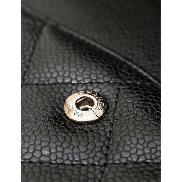 シャネル CHANEL マトラッセ30 キャビアスキン ブラック シルバー金具 Wチェーンショルダーバッグ デカマトラッセライン ダブルフラップ A58600|cawcaw|09