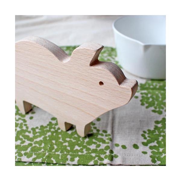 木製 鍋敷き ぶたさんなべしき 日本製 ポットスタンド かわいい 天然木 ブナ|cayest|05