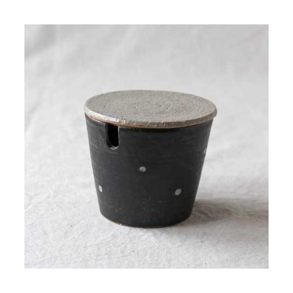 シュガーポット ドット 陶器 信楽焼 水玉 砂糖入れ 白 黒 cayest
