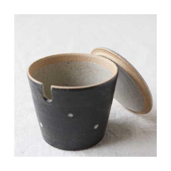 シュガーポット ドット 陶器 信楽焼 水玉 砂糖入れ 白 黒 cayest 02