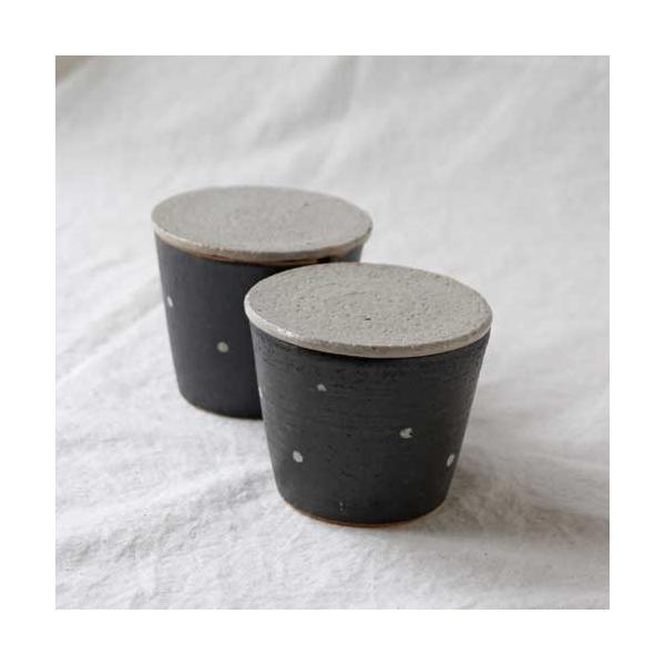 シュガーポット ドット 陶器 信楽焼 水玉 砂糖入れ 白 黒 cayest 06