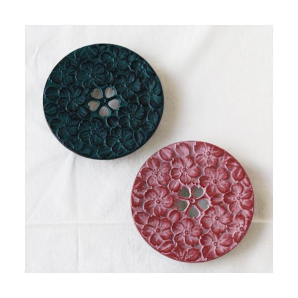 南部鉄器 瓶敷き 桜 10.5cm 桜赤/桜緑 鍋敷き cayest